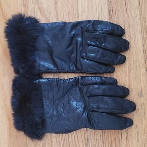 Leather and Rabbit Fur driving/ winter gloves